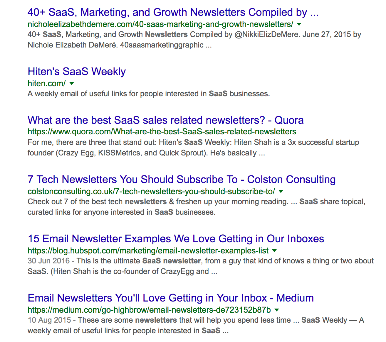 "Screenshot of gogole search results for ""saas newsletters"""