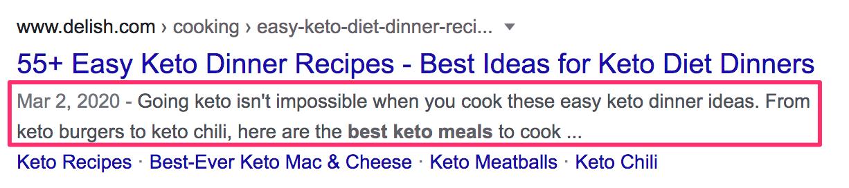 Screenshot meta description of 55+ Easy Keto Dinner Recipes - Best Ideas for Keto Diet Dinners