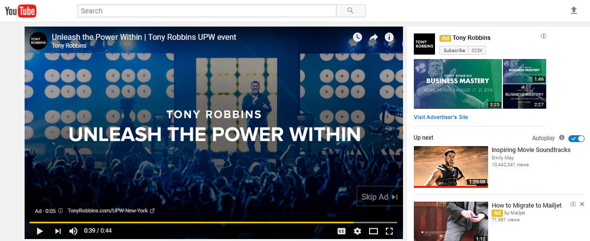 "Screenshot of A Tony Robbins video, saying ""Unleash The Power Within"""