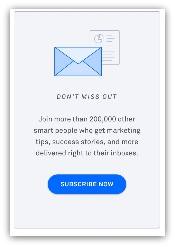 Screenshot showing a subscribe button for list building