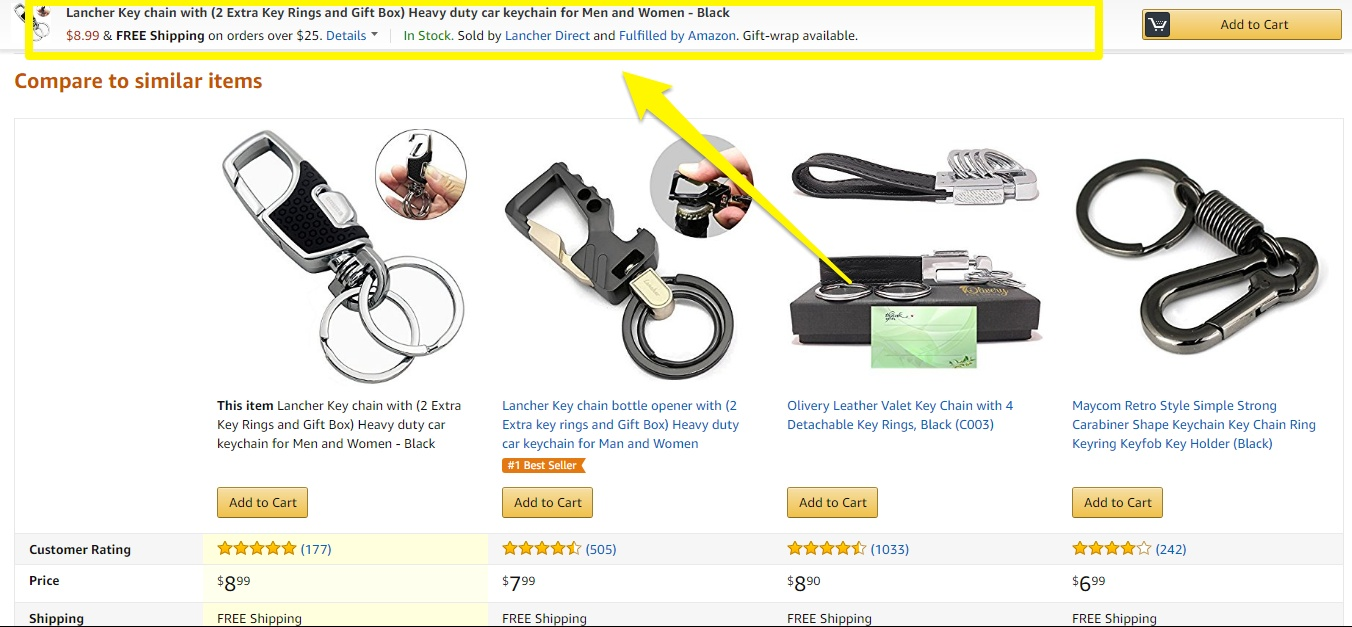 Screenshot showing a sticky add to cart bar on top