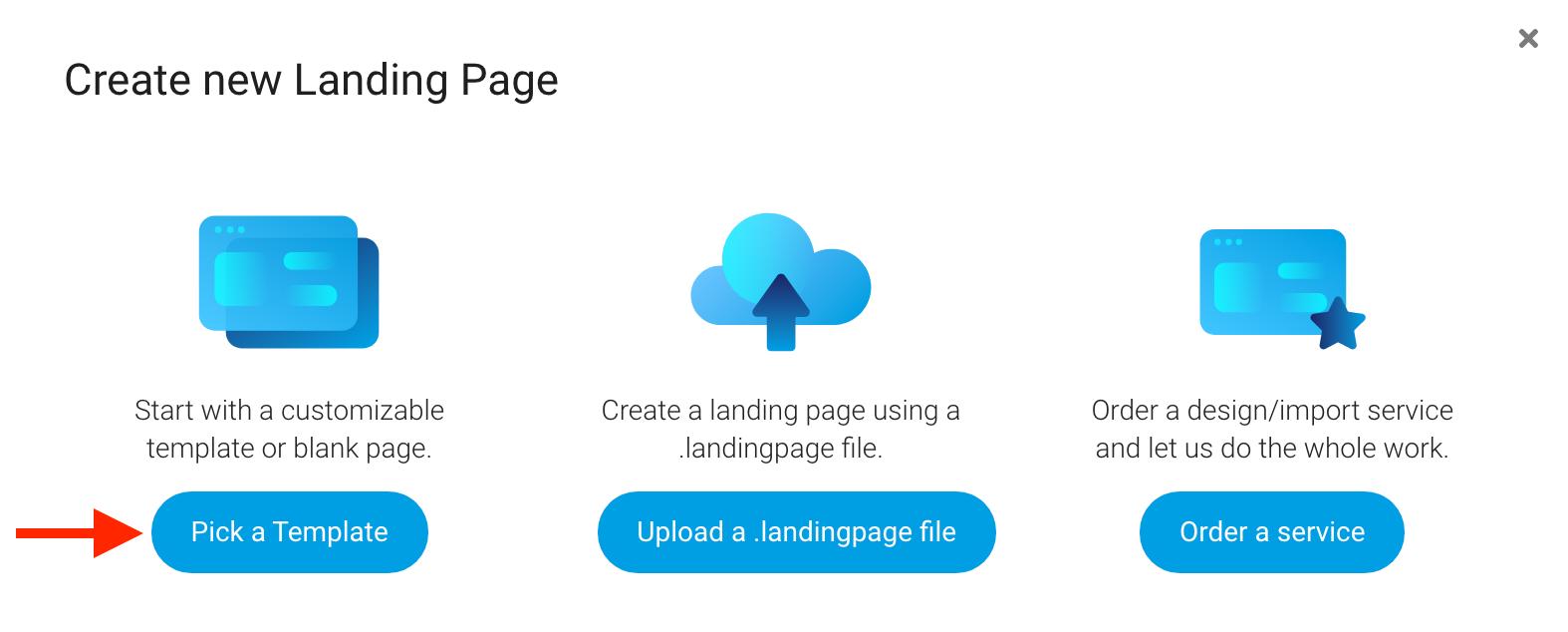 Create landing page - Langingi