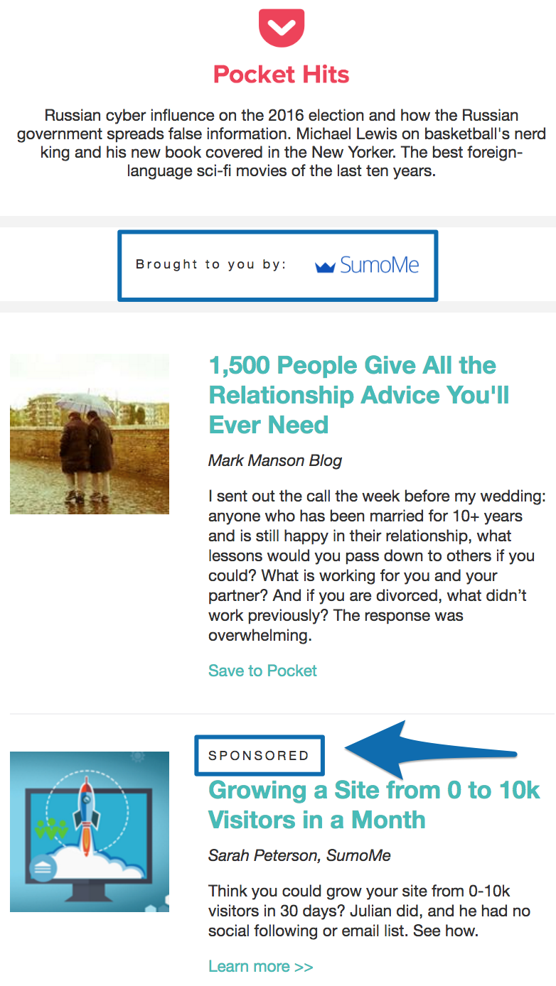 Screenshot of a content ad published by Sumo on pocket hits