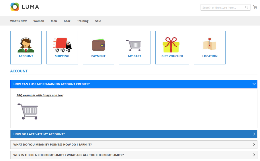 Screenshot showing an FAQ page