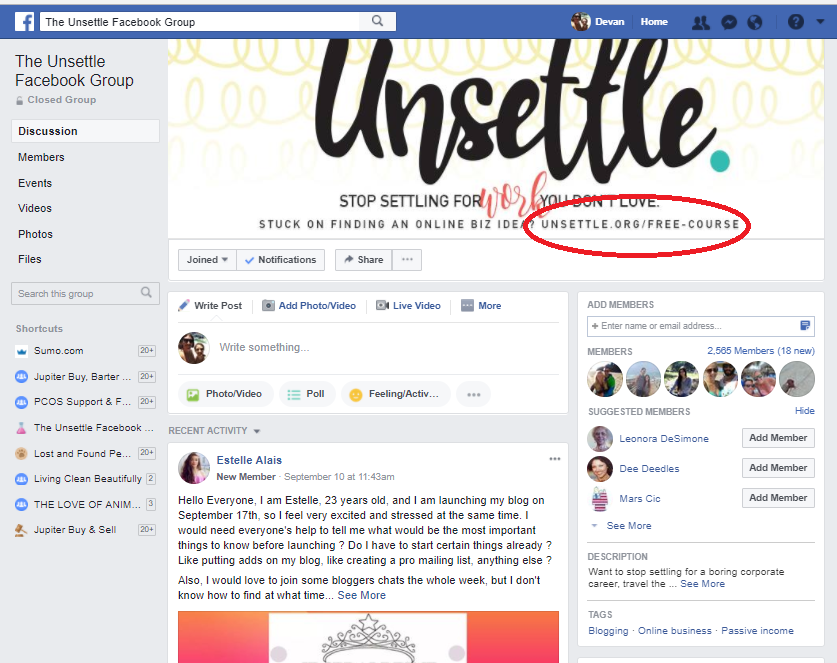 Screenshot showing how Unsettle promotes links on their Facebook page