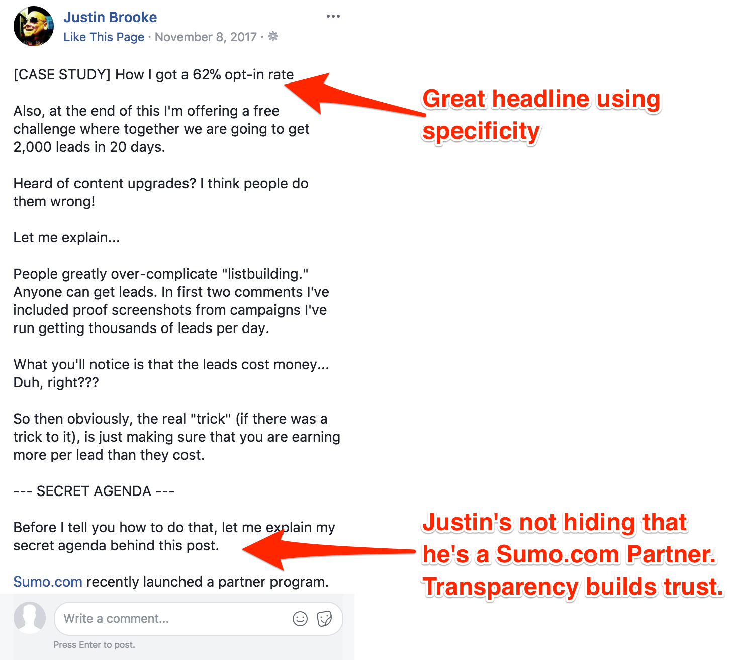 Screenshot showing a facebook post
