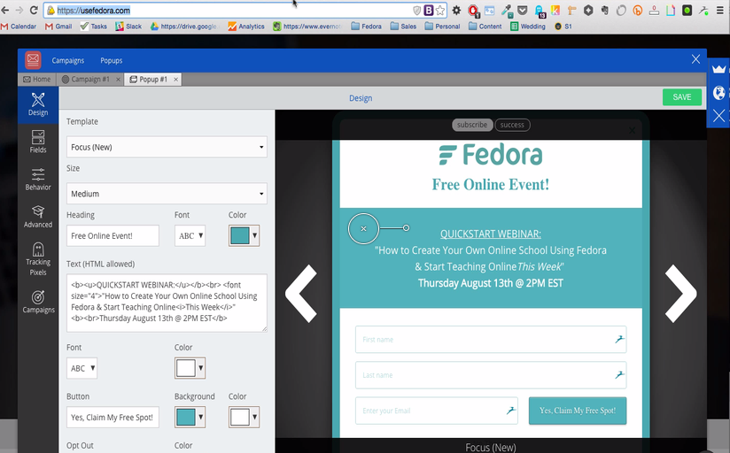 Screenshot showing the Sumo popup builder