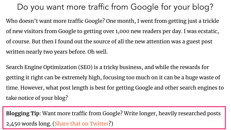 """blog post highlight """"Blogging Tip"""""""