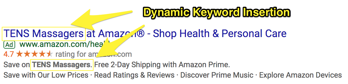Screenshot showing a google adwords ad by amazon