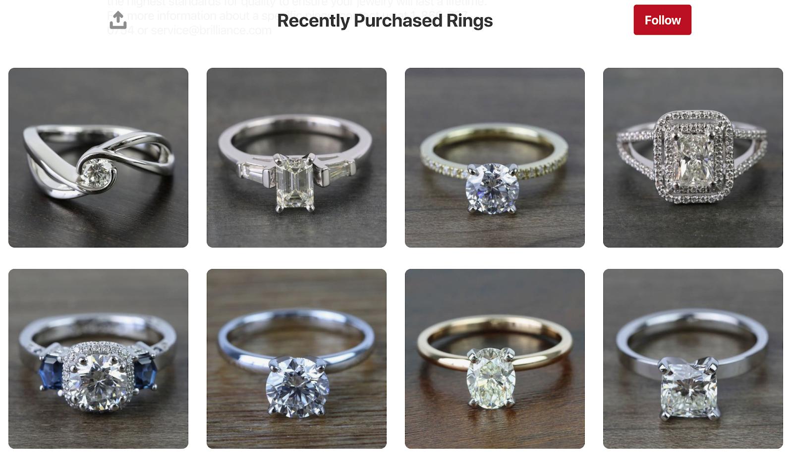 Screenshot showing jewelry catalog