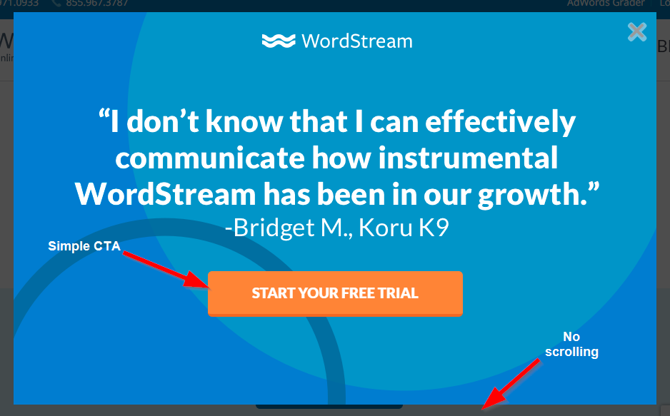 Squeeze Page: Screenshot of WordStream squeeze page