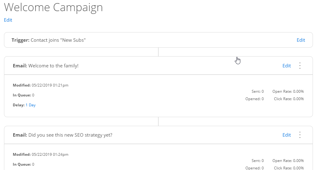 Screenshot showing a drip campaign on Sumo