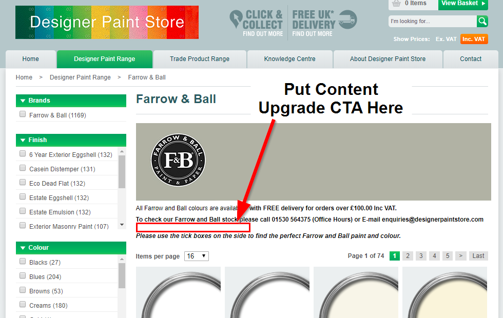 Screenshot showing where to put a content upgrade CTA