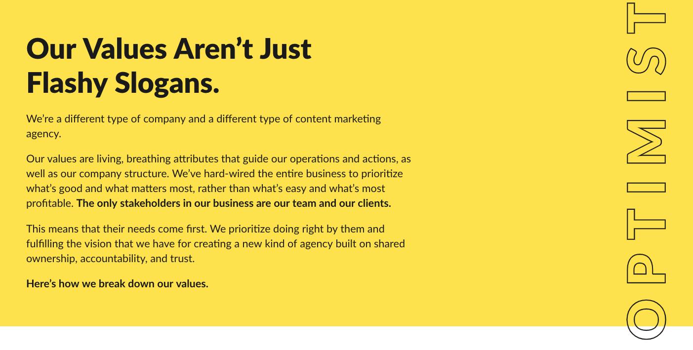 Optimist's brand values