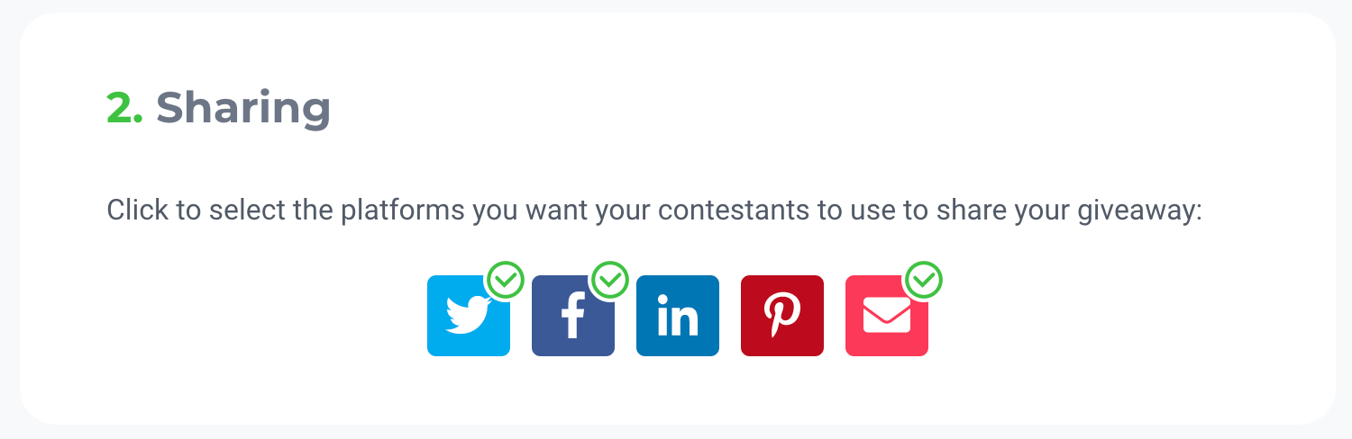 Screenshot showing the sharing page for a viral giveaway