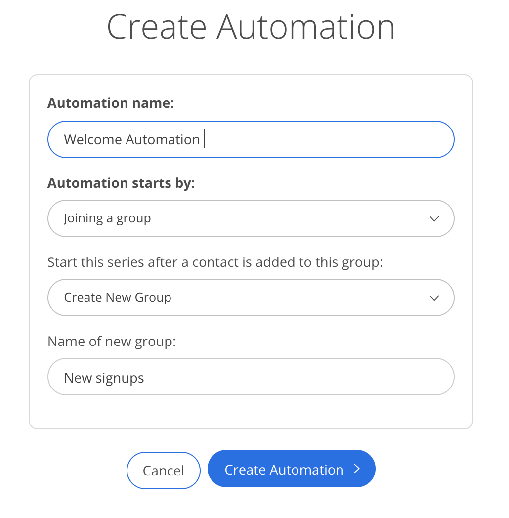 Screenshot of steps to create automation for email using Sumo