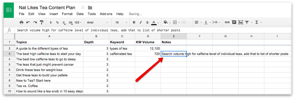 Screenshot showing search volume on a google spreadsheet