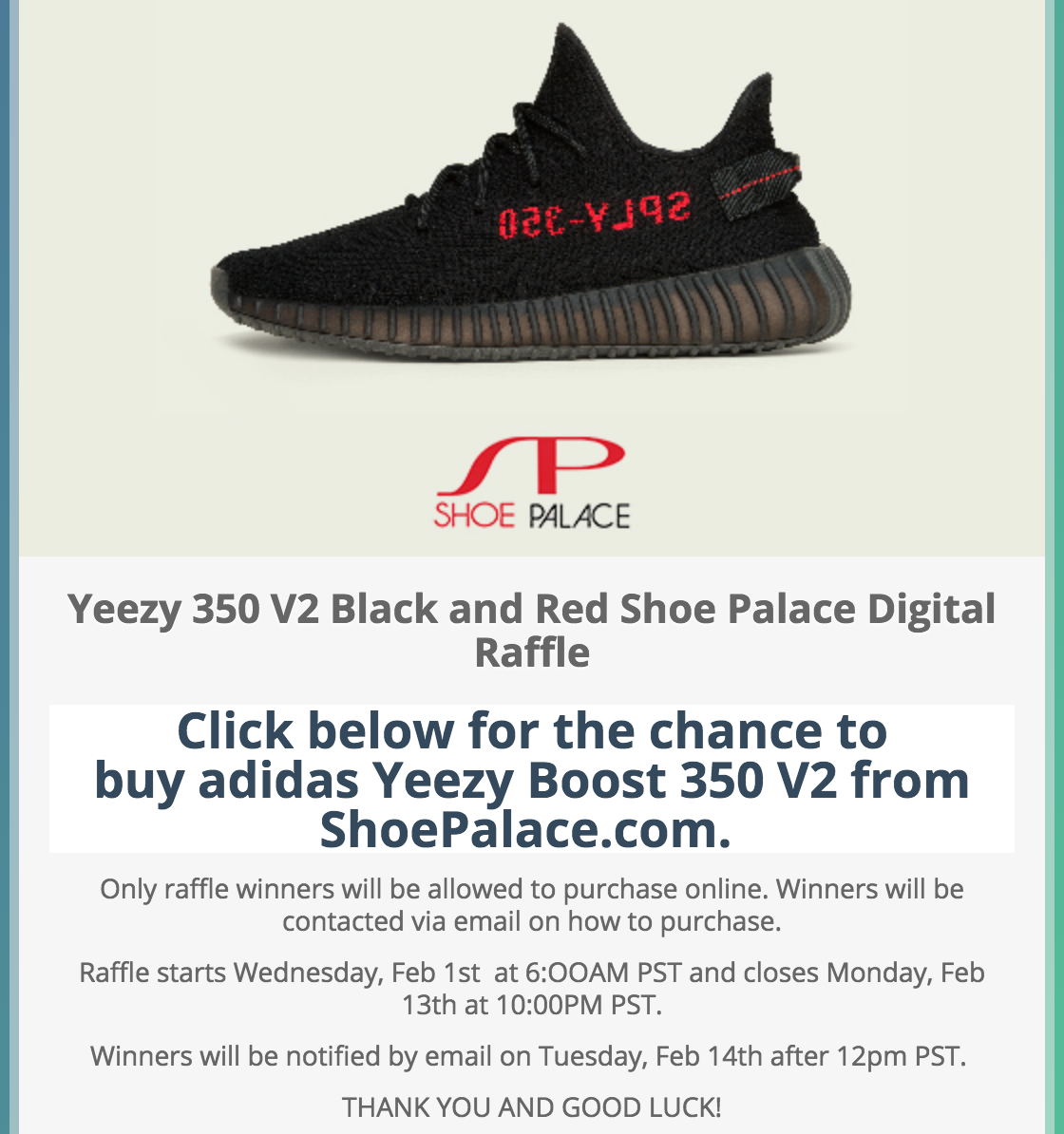 Screenshot showing an email about sneakers