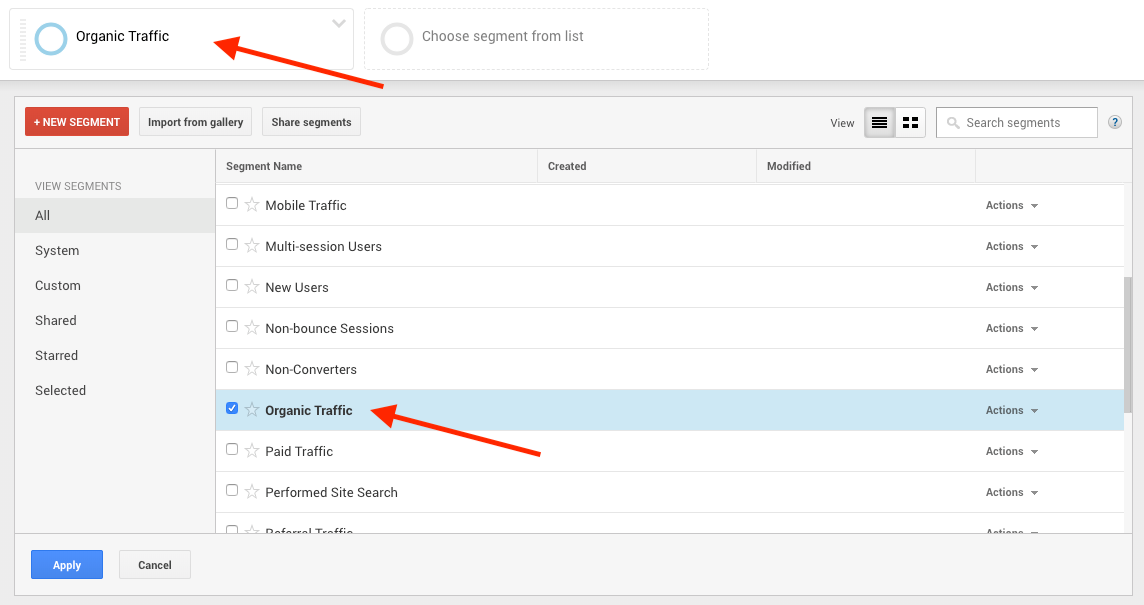 Screenshot of steps to find post with the most organic traffic in Google Analytics
