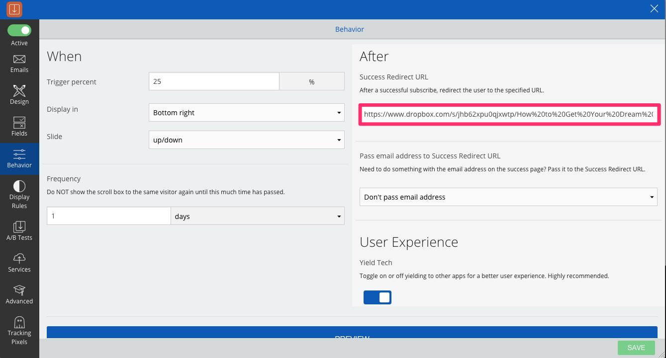 success redirect url content upgrade dropbox