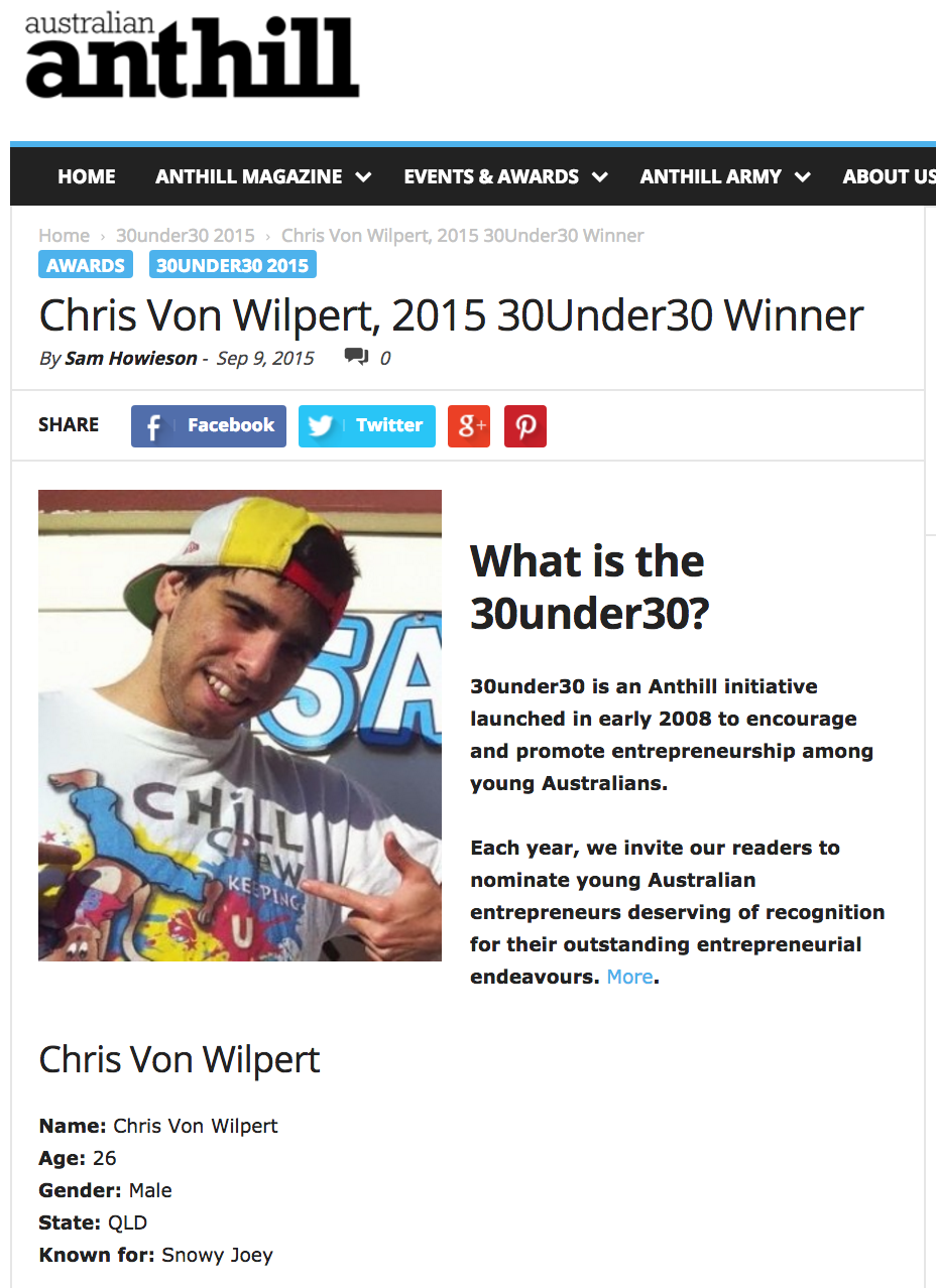 Screenshot showing Chris Von Wilpert on 30under30