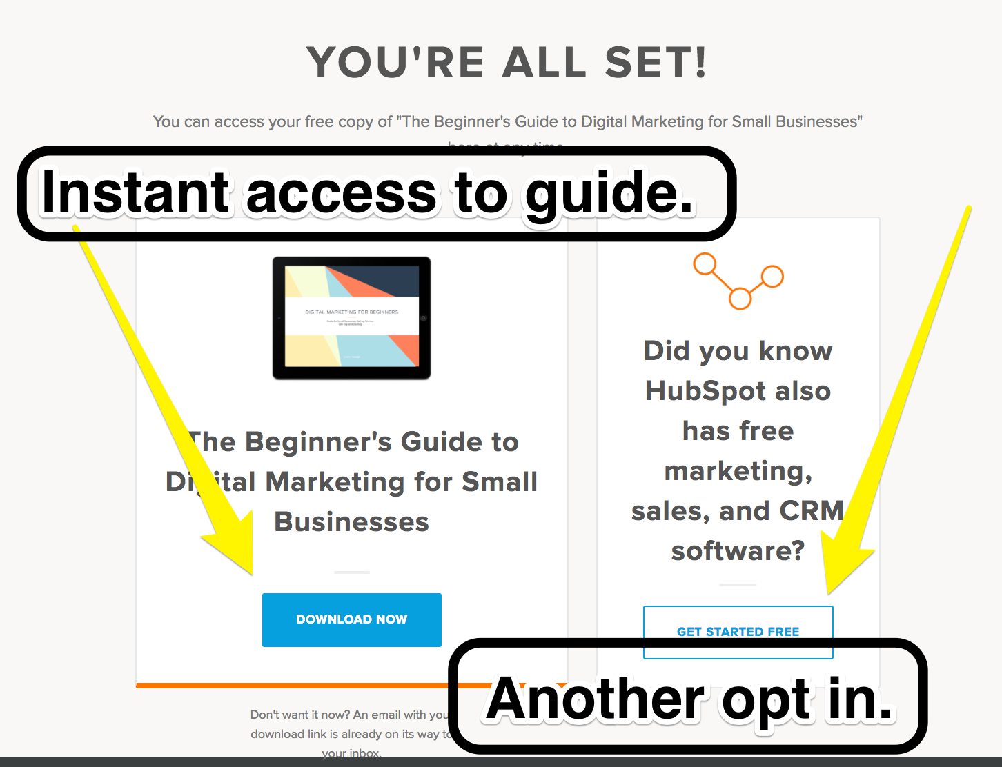 Screenshot showing the confirmation page for a hubspot opt-in