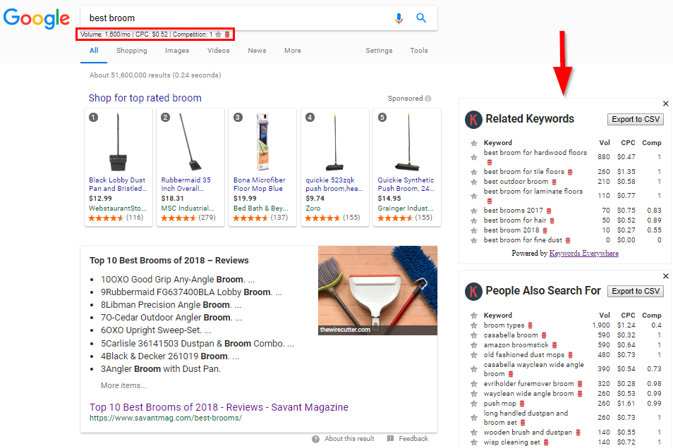 "Screenshot showing google search results for ""best broom"""