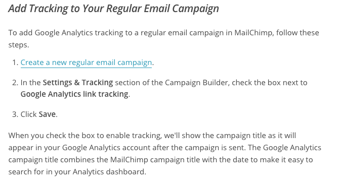 Screenshot showing a guide on how to add tracking to your emails