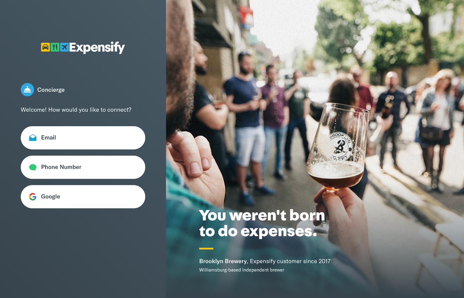 Screenshot of Expensify website