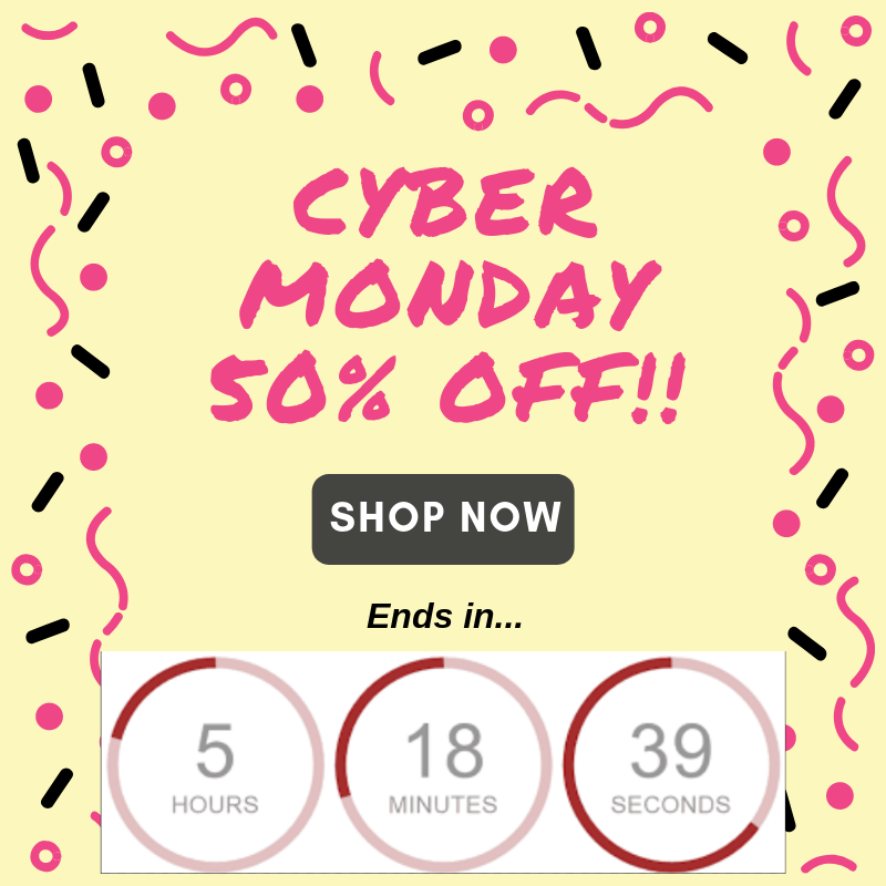 Screenshot showing a cyber monday promo image with a countdown