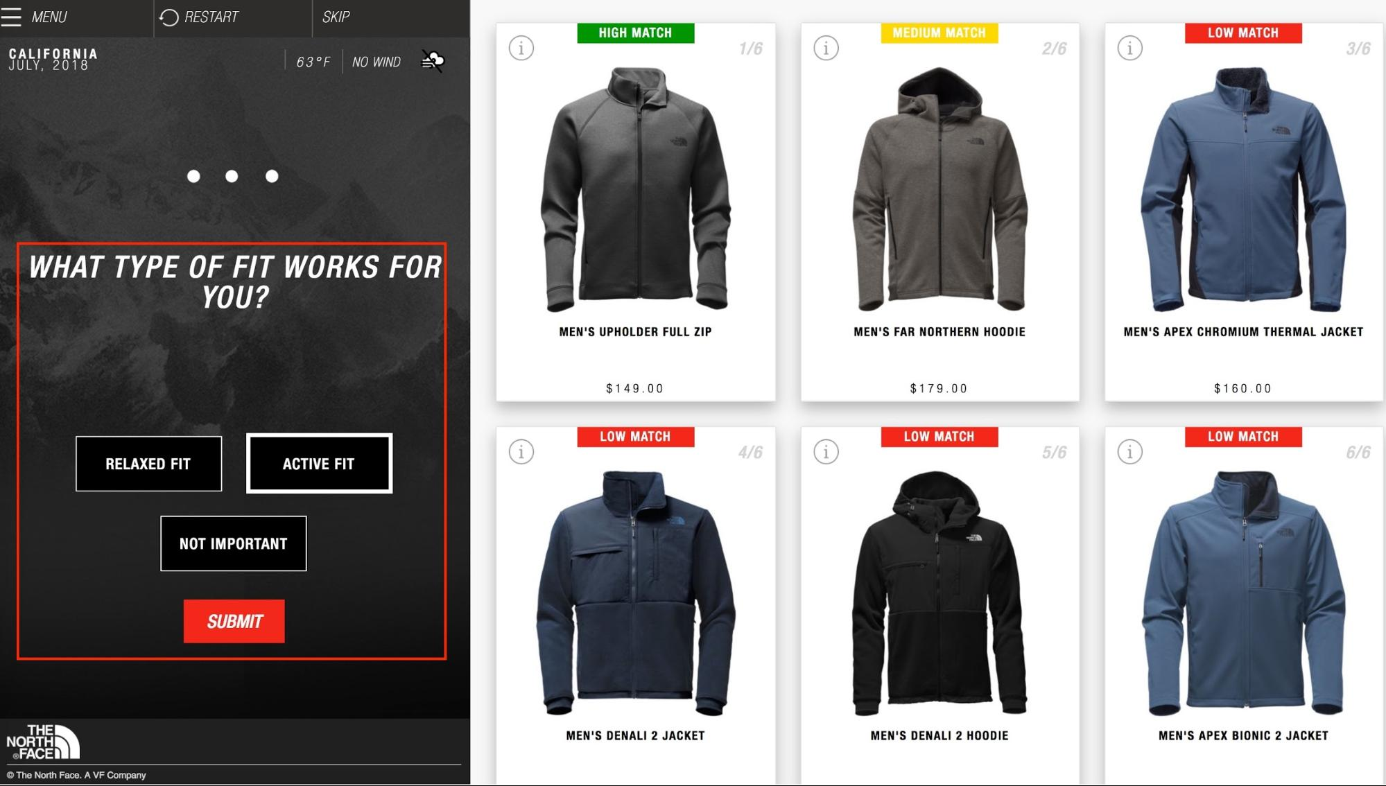 Screenshot showing ecommerce products