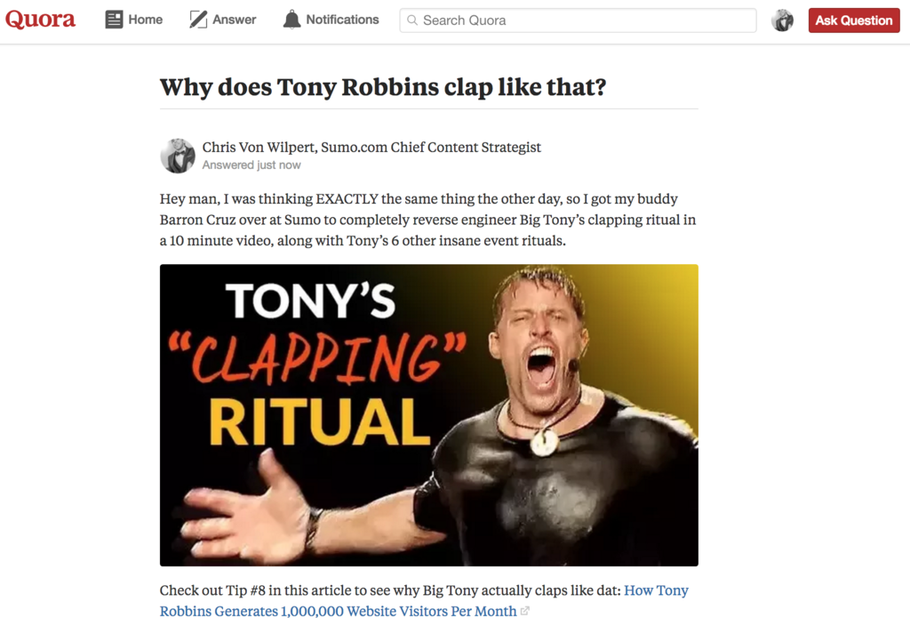 Screenshot of a page on Quora, and an answer by Chris Von Wilpert linking to a Sumo content piece
