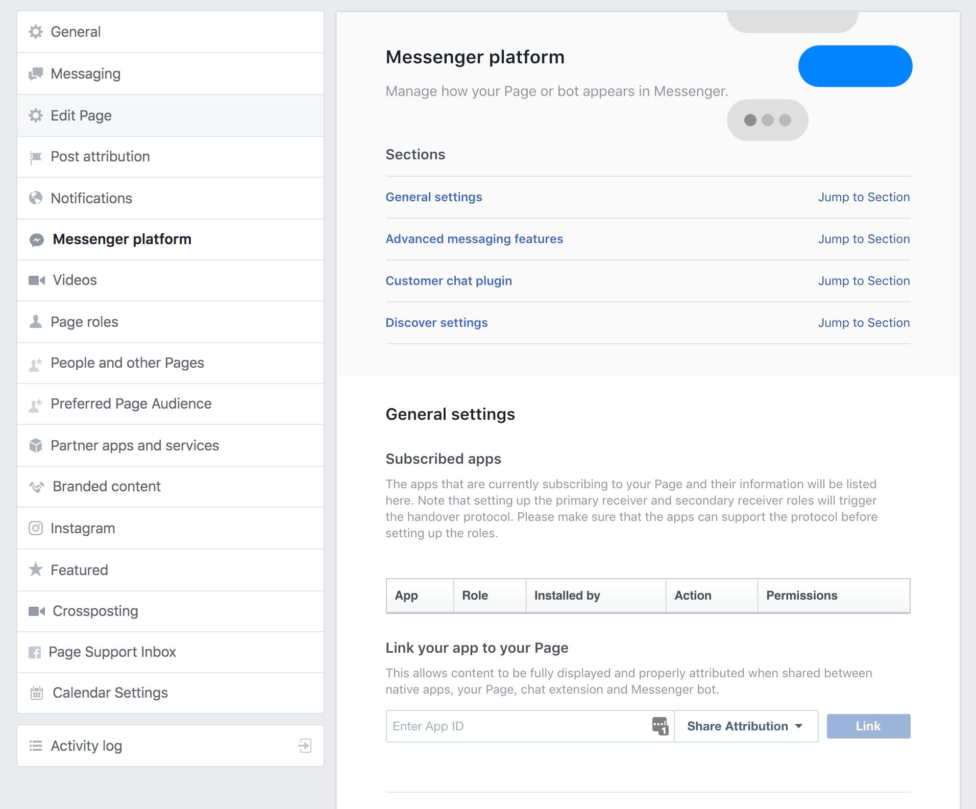 Screenshot showing messenger platform settings