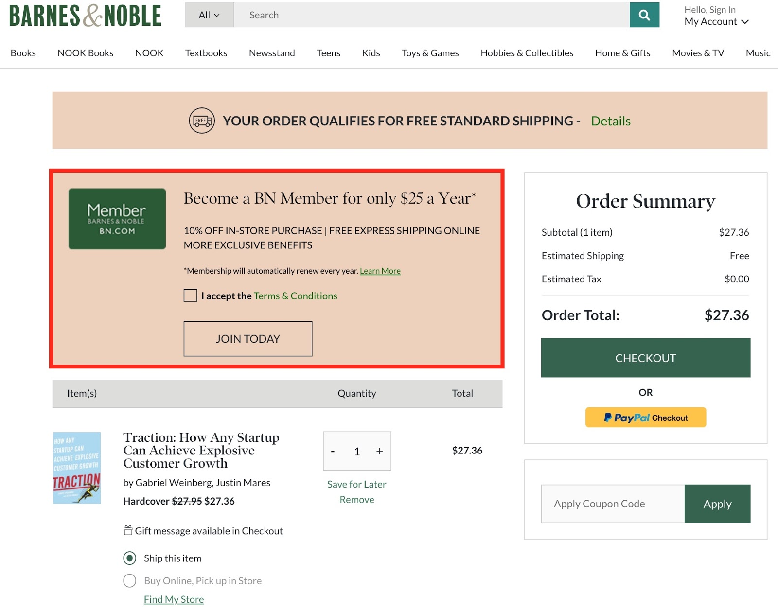 Screenshot showing the checkout page on Barnes & Noble