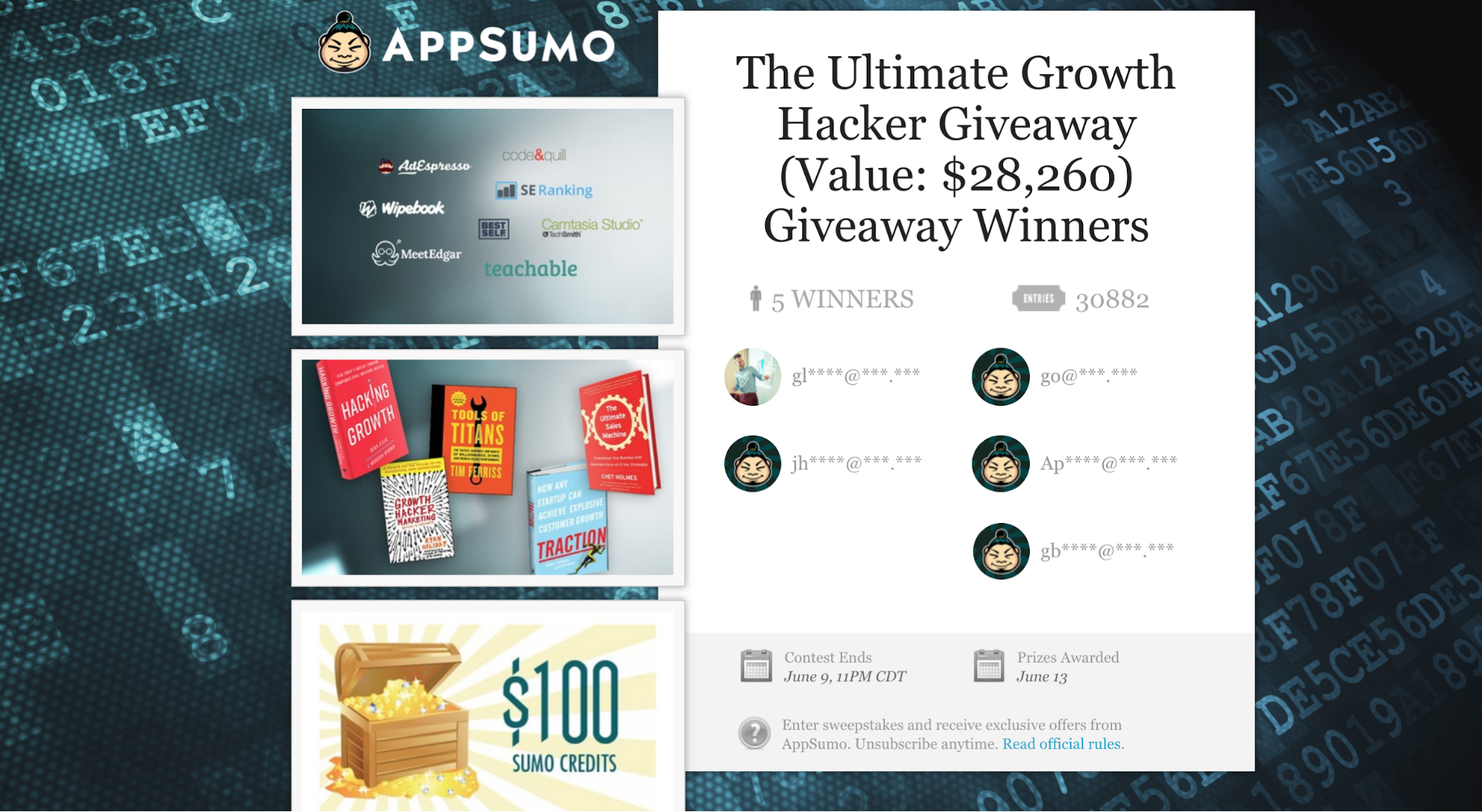 Screenshot showing an appsumo giveaway