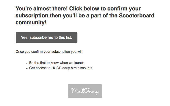 Screenshot showing an email by mailchimp