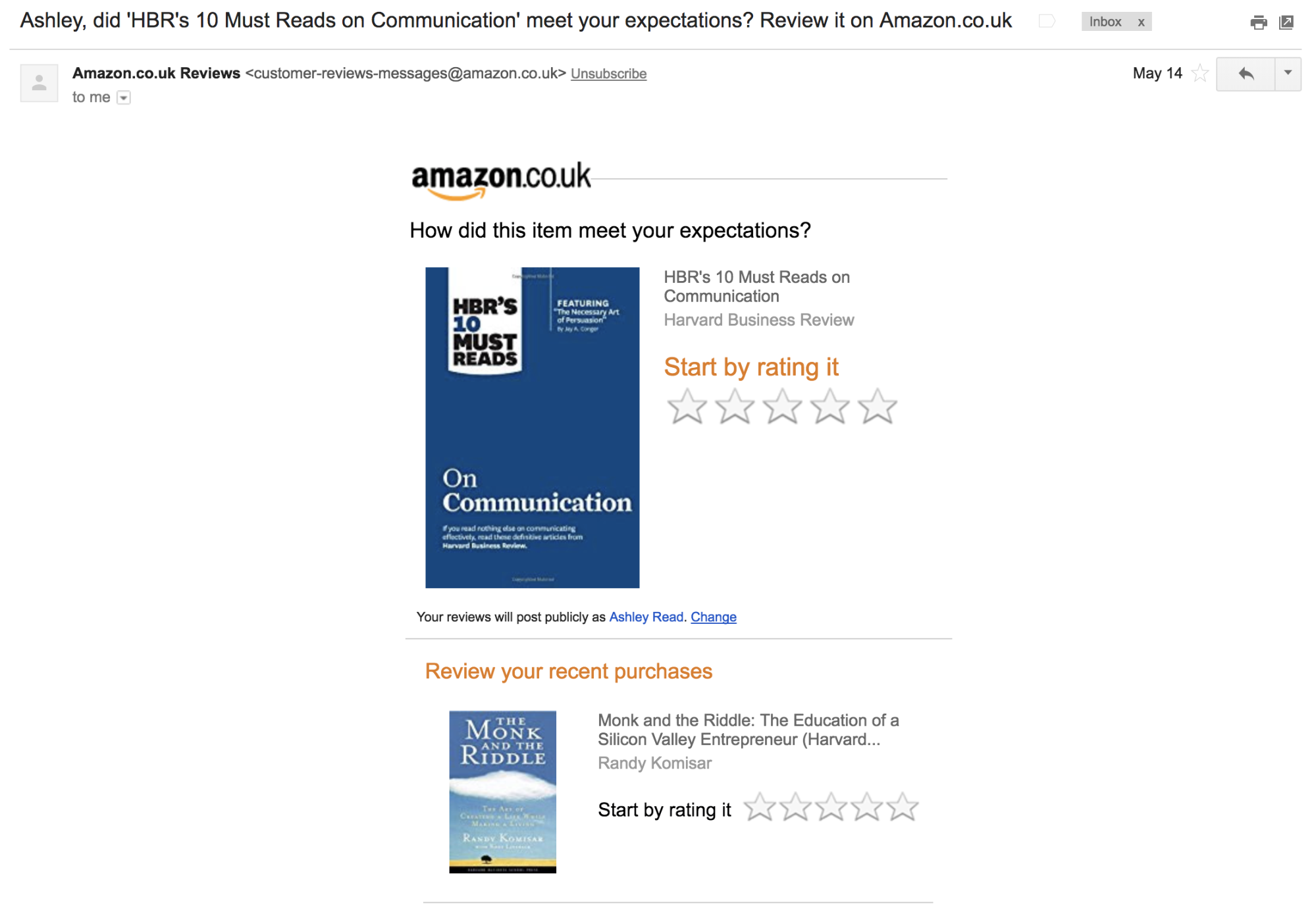 Screenshot showing an email by amazon.co.uk