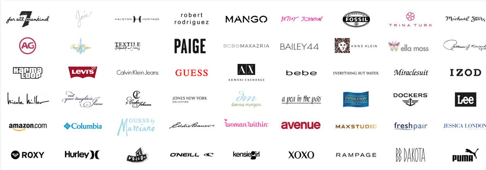 Screenshot showing logos of different brands