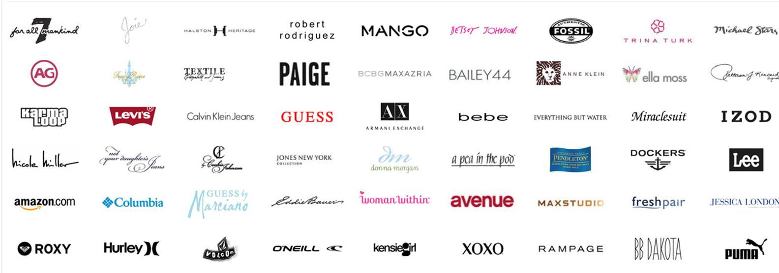 Screenshot showing logos of different brands