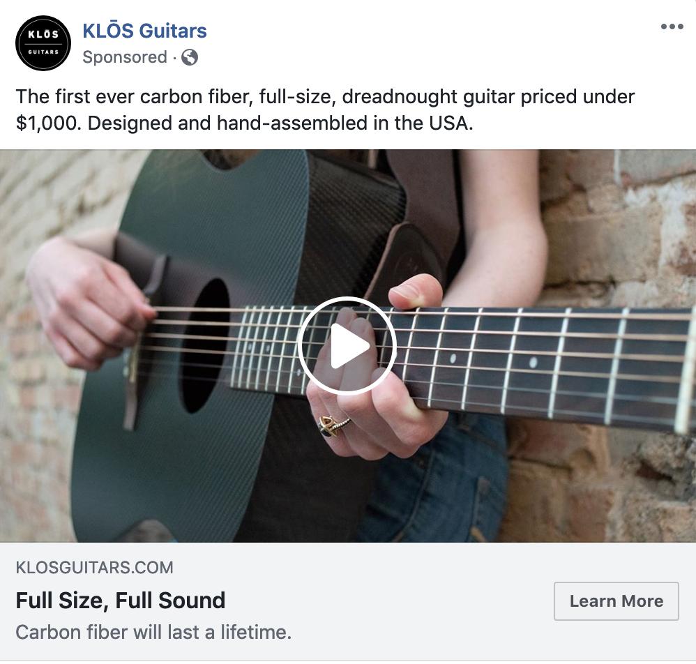 Screenshot showing KLOS guitars Facebook ads
