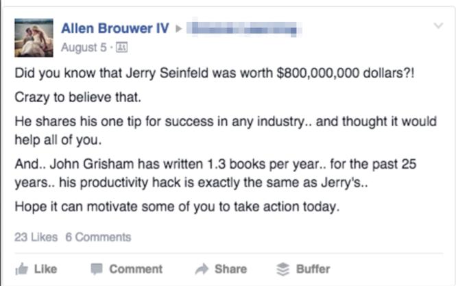 Ảnh chụp màn hình hiển thị một bài đăng trên facebook