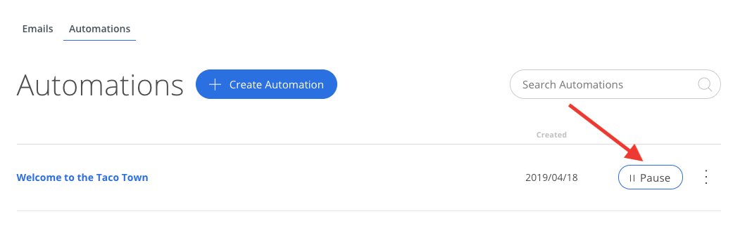 Screenshot of steps to pause Automation in Sumo