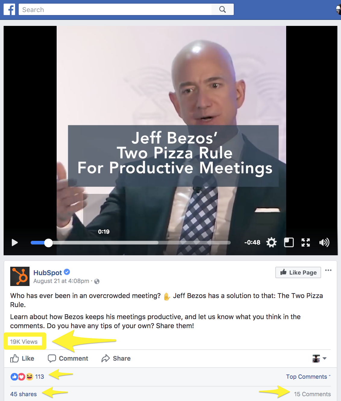 Screenshot showing a facebook video by hubspot