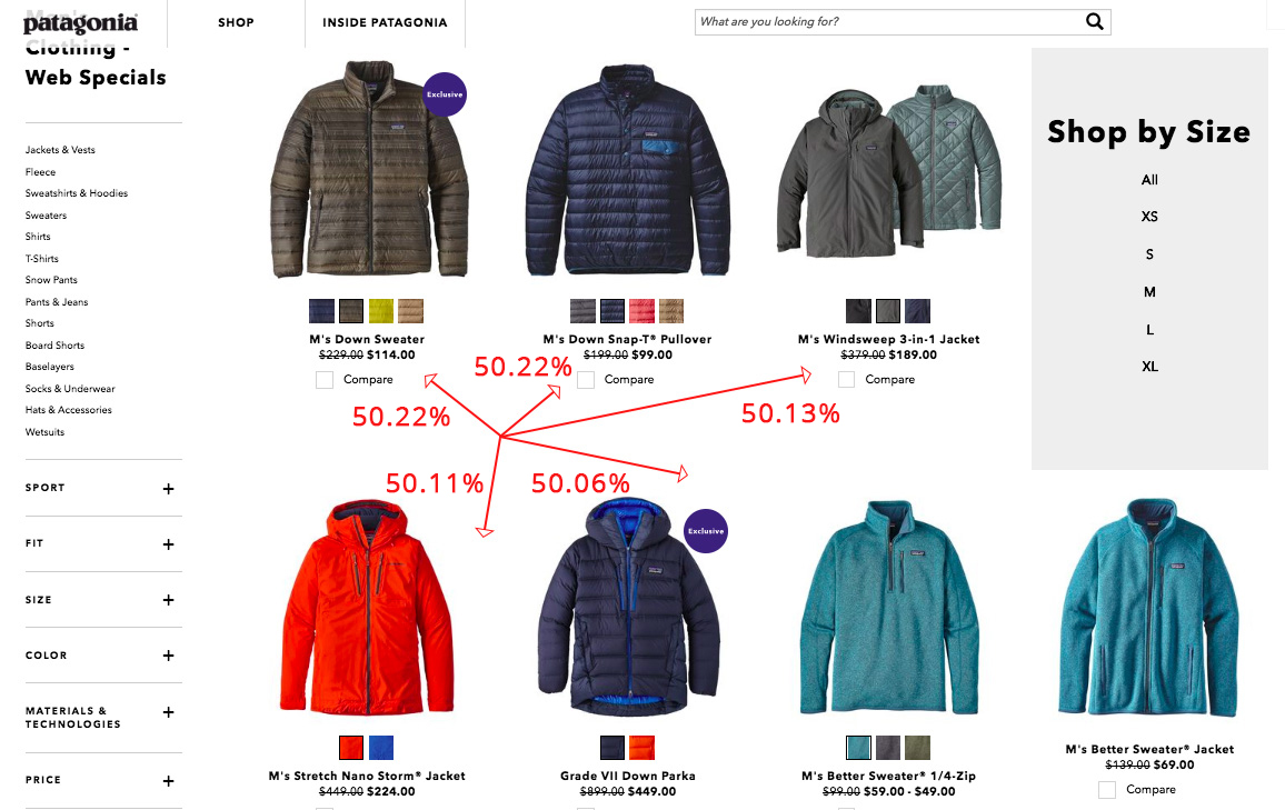 Screenshot showing products on patagonia