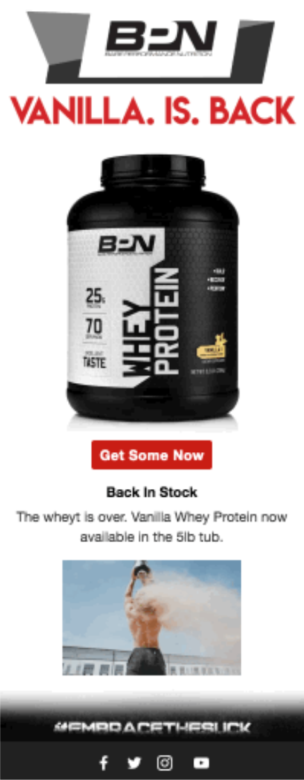 Screenshot of BPN Product Back In Stock Email