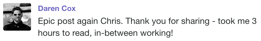 Screenshot of a post by Daren Cox, praising an article