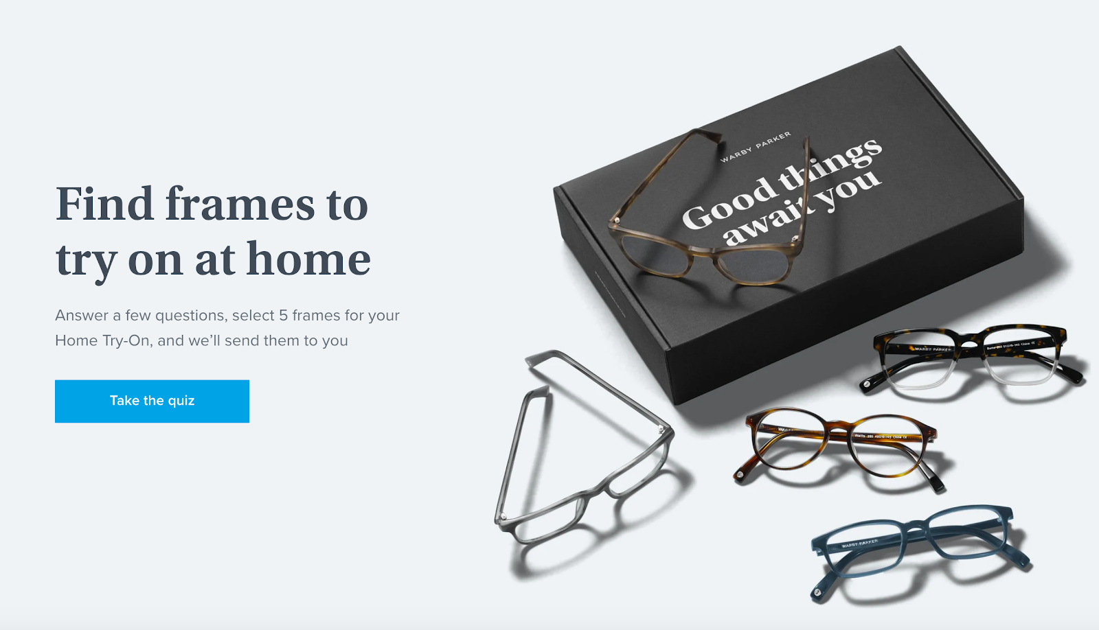 Warby Parker's landing pages
