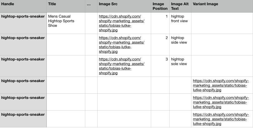 Screenshot showing a spreadsheet of exported ecommerce product data