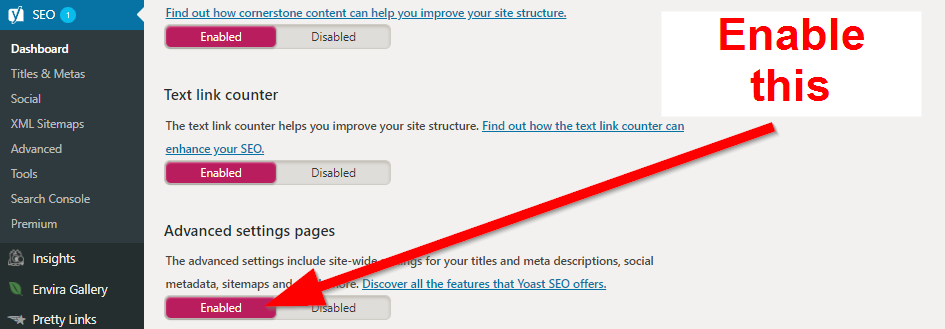 Screenshot showing yoast SEO settings on wordpress