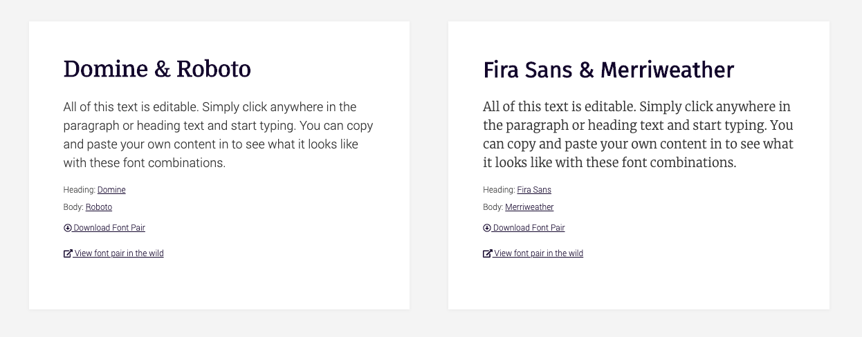 Screenshot of FontPair to find the perfect font pair for your site